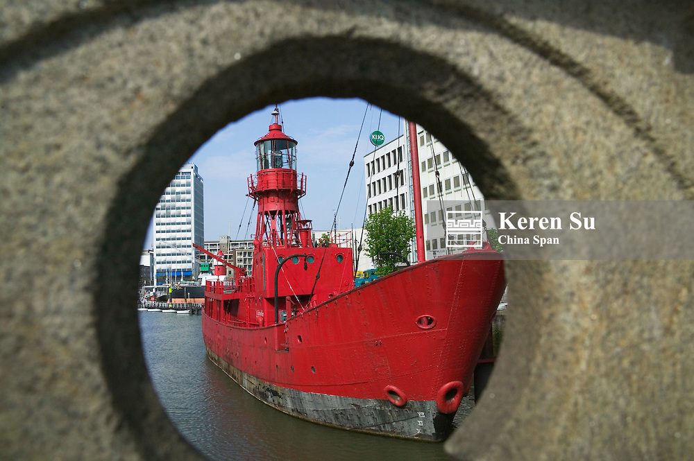 View of harbor with ship, Rotterdam, Netherlands