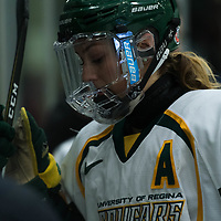 5th year forward Bailey Braden (8) of the Regina Cougars during the Women's Hockey Homeopener on October 7 at Co-operators arena. Credit: Arthur Ward/Arthur Images