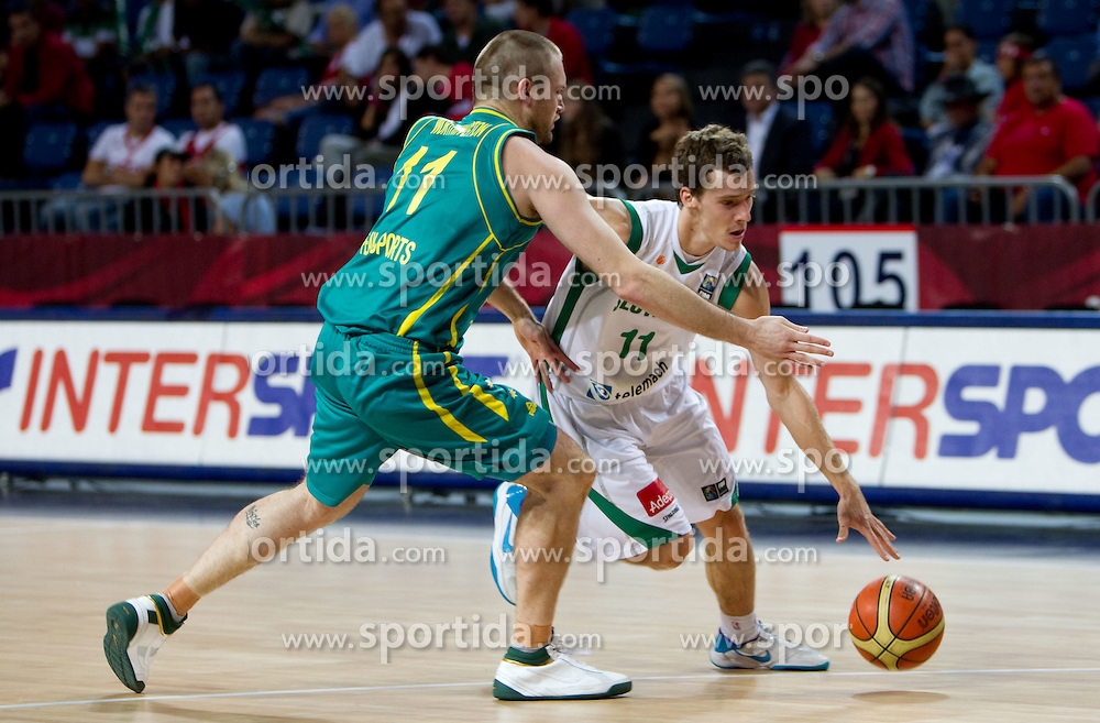 Mark Worthington of Australia vs Goran Dragic of Slovenia during  the eight-final basketball match between National teams of Slovenia and Australia at 2010 FIBA World Championships on September 5, 2010 at the Sinan Erdem Dome in Istanbul, Turkey. (Photo By Vid Ponikvar / Sportida.com)