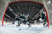 KELOWNA, CANADA - JANUARY 08: Brycen Martin #4 and Carter Hart #70 of Everett Silvertips fail to stop the puck against the Kelowna Rockets on January 8, 2016 at Prospera Place in Kelowna, British Columbia, Canada.  (Photo by Marissa Baecker/Shoot the Breeze)  *** Local Caption *** Brycen Martin; Carter Hart;
