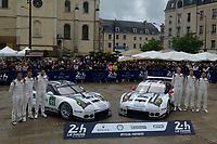 Patrick PILET (FRA) / Kevin ESTRE (FRA) / Nick TANDY (GBR)  #91 and Frederic MAKOWIECKI (FRA) / Earl BAMBER (NZL) / Jorg BERGMEISTER (DEU)  #92 PORSCHE MOTORSPORT PORSCHE 911 RSR (2016),  during the Le Mans 24 Hr June 2016 at Circuit de la Sarthe, Le Mans, Pays de la Loire, France. June 12 2016. World Copyright Peter Taylor/PSP.