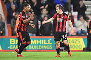Goal - Ryan Fraser (24) of AFC Bournemouth is congratulated by Jordan Ibe (33) of AFC Bournemouth after scoring the winning goal to make the score 2-1 during the Premier League match between Bournemouth and Everton at the Vitality Stadium, Bournemouth, England on 30 December 2017. Photo by Graham Hunt.