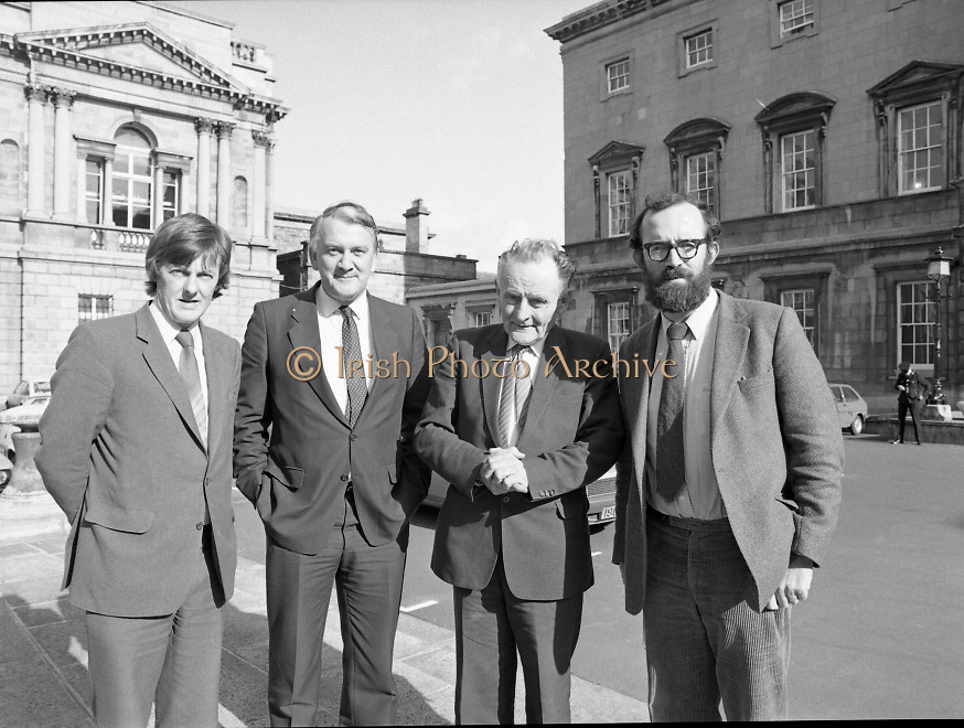 1983-11-83.11th Octoer 1983.11-10-1983.10-11-83..Photographed at Seanad Éireann..Shine on:..Four members of Seanad Éireann enjoy the rare rays of an October sun outside the Upper House of the Oireachtas in Dublin.....