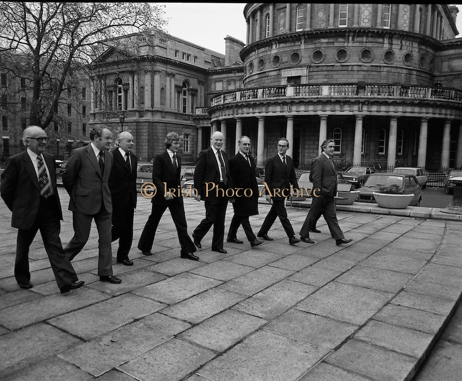 Newly Elected TD Enda Kenny Arrives at The Dail..(J89)..1975..18.11.1975..11.18.1975..18th November 1975..Following the death of his father,Henry Kenny TD, Enda Kenny was proposed by the Fine Gael party to contest the seat. He was duly elected and went to Dublin to take up his seat in Dail Eireann at Leinster House, Dublin. .Pictured arriving with some of the elder statesmen of the Fine Gael party, Enda Kenny newly elected TD for West Mayo enters the grounds of Leinster House..Some of those included in the picture are Mr Myles Staunton TD, Mr Dick Barry TD, Senator Jim Sanfey,General Sec,Fine Gael and Mr Tom Fitzpatrick,Minister for Lands.