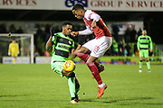 Forest Green Rovers Reece Brown(10) and Arsenal's Joe Willock(59) during the EFL Trophy group stage match between Forest Green Rovers and U21 Arsenal at the New Lawn, Forest Green, United Kingdom on 7 November 2018.