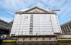 View of Pergamon Museum under reconstruction and renovation on Museum Island in Berlin, Germany