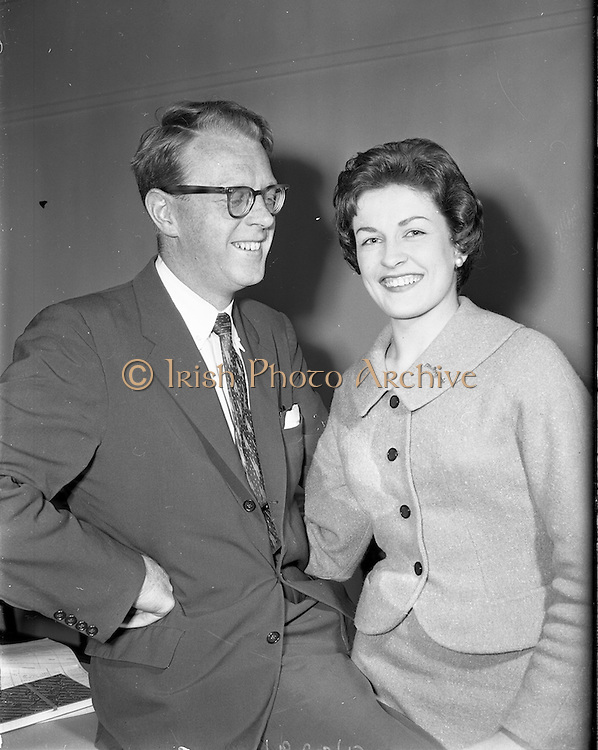 28/05/1959<br /> 05/28/1959<br /> 28 May 1959<br /> Irish Shell staff engagement. Mr C. McGaley engaged to C. Fitzpatrick of Irish Shell.