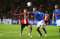 Ollie Watkins of Exeter City battles for the ball with Gary Liddle of Carlisle United - Mandatory by-line: Gary Day/JMP - 18/05/2017 - FOOTBALL - St James Park - Exeter, England - Exeter City v Carlisle United - Sky Bet League Two Play-off Semi-Final 2nd Leg