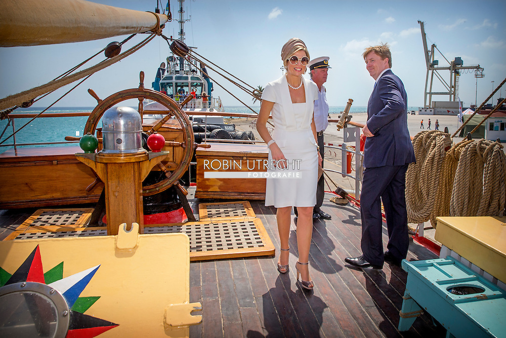 1-5-2015 ARUBA -  King Willem-Alexander and Queen Maxima  visit the Zr.Ms. Zeeland schip and the tall ship Picton Castle the King Willem-Alexander and Queen Maxima of The Netherlands visits Sail Aruba on 1-5-2015 COPYRIGHT Robin Utrecht