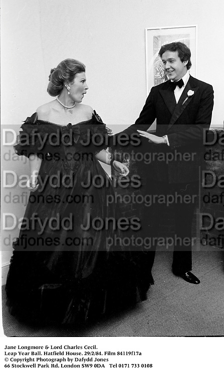 Jane Longmore & Lord Charles Cecil. Leap Year Ball. Hatfield House. 29/2/84. Film 84119f17a<br />