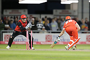Stuart Pointer (Wicket Keeper) of Durham Jets stumps Lancashires Danny Lamb during the Vitality T20 Blast North Group match between Lancashire Lightning and Durham Jets at the Emirates, Old Trafford, Manchester, United Kingdom on 7 August 2018.
