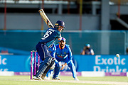 England ODI Captain & Batsman Eoin Morgan scores a six during the 3rd Royal London ODI match between England and India at Headingley Stadium, Headingley, United Kingdom on 17 July 2018. Picture by Simon Davies.