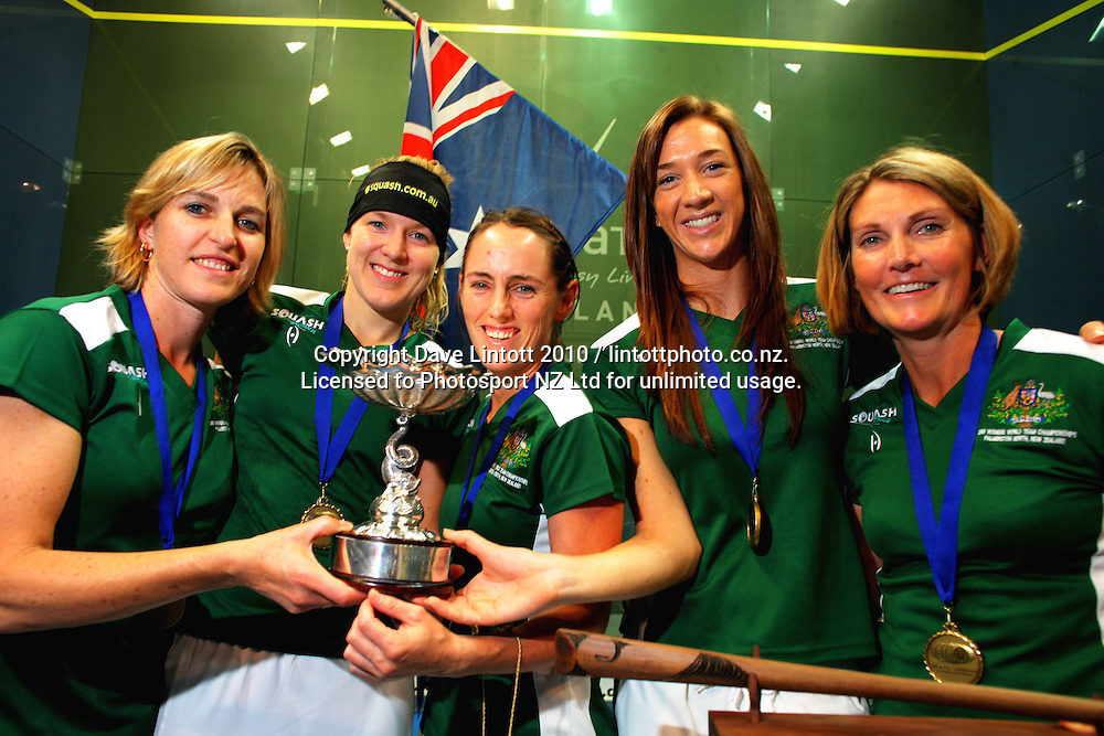 Champions Australia, from left, Sarah Fitzgerald, Kasey Brown, Rachael Grinham, Donna Urquhart and coach Michelle Martin. Women's World Squash Teams final at International Pacific College Rec Centre, Palmerston North, New Zealand on Saturday, 4 December 2010. Photo: Dave Lintott / photosport.co.nz