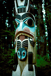 AK: Alaska Sitka National Historic Park, totem pole    .Photo Copyright: Lee Foster, lee@fostertravel.com, www.fostertravel.com, (510) 549-2202.Image: aksitk205.