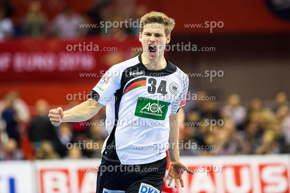 29.01.2016, Tauron Arena, Krakau, POL, EHF Euro 2016, Norwegen vs Deutschland, Halbfinale, im Bild Rune Dahmke (Nr. 34, THW Kiel) freut sich. // during the 2016 EHF Euro semi final match between Norway and Germany at the Tauron Arena in Krakau, Poland on 2016/01/29. EXPA Pictures &copy; 2016, PhotoCredit: EXPA/ Eibner-Pressefoto/ Koenig<br /> <br /> *****ATTENTION - OUT of GER*****