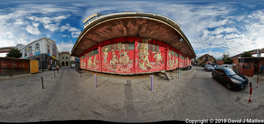 LZ Factory Back Street - 360 Degree Panorama. Composite of 25 images taken with a Nikon D850 camera and 8-15 mm fisheye lens (ISO 110, 15 mm, f/8, 1/320 sec). Raw images processed with Capture One Pro and stitched together with AutoPano Giga.