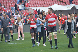 28-07-18 Emirates Airline Park, Johannesburg. Super Rugby semi-final Emirates Lions vs NSW Waratahs. THE Lions team walk the field for a lap of honour. Left wing Aphiwe Dyantyi and hooker Malcolm Marx.<br />  Picture: Karen Sandison/African News Agency (ANA)
