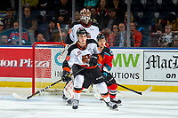 KELOWNA, BC - NOVEMBER 8:  Trevor Wong #8 of the Kelowna Rockets looks for the pass while forechecked by Eric Van Impe #28 as Mads Søgaard #30 of the Medicine Hat Tigers defends the net and keeps an eye on the puck at Prospera Place on November 8, 2019 in Kelowna, Canada. (Photo by Marissa Baecker/Shoot the Breeze)