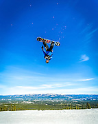 Sammy Mather launches off a jump at Mount Sima in Whitehorse, Yukon.