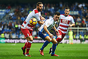 "MALAGA, SPAIN - DECEMBER 09:  Juan Pablo Anor ""Juanpi"" of Malaga CF (C) competes for the ball with David Rodriguez Lomban of Granada CF (L) during La Liga match between Malaga CF and Granada CF at La Rosaleda Stadium December 9, 2016 in Malaga, Spain.  (Photo by Aitor Alcalde Colomer/Getty Images)"