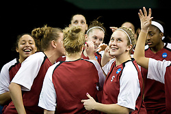 March 29, 2010; Sacramento, CA, USA; The Stanford Cardinal womens basketball team laughs before the game against the Xavier Musketeers in the finals of the Sacramental regional in the 2010 NCAA womens basketball tournament at ARCO Arena. Stanford defeated Xavier 55-53.