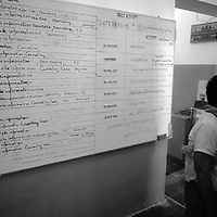 "SIEM REAP, FEBRUARY-28 : a board with weekly tasks in the  mental hospital..The counselors and doctors hope to reach mor people through education.. .The country's entire infrastructure, including the health system, was destroyed during the Khmer Rouge reign and years of civil war. Only in recent years , several non governmental organizations have helped provide mental health services and training in the country in collaboration with local healers..Mental health service is relatively new to Cambodia, but much needed. Before the Pol Pot regime Cambodia only had one mental hospital for the whole population which was destroyed during the years of horror..Modest by western standards, the first mental health clinic for all of Cambodia was set up in Siem Reap by a team from Harvard University in 1994. .This is because many refugees settled down in and around Siem Reap. 102 doctors and counsellers were trained by the Harvard specialists in the late nineties as more than 80 percent of the population was traumatized by the Pol Pot years, and even more during their years in the refugee camps. Studies have shown that most  Cambodians showed PTSD ( Posttraumatic Stress Disorder) symptoms similiar to the Jewish survivors of concentration camps. . .As for the future, Cambodians are sceptical if there'd be a fair trial for the people . It'd be very difficult to bring patients to the capital Phnom Penh to witness . Due to Cambodias underdevelopped infrastructure, many Cambodians are even not aware of the trial preparations. There's no money and also many people do not want to be reminded. says a counselor in Siem Reap:""  it only would open old wounds. People rather suffer in silence"".."