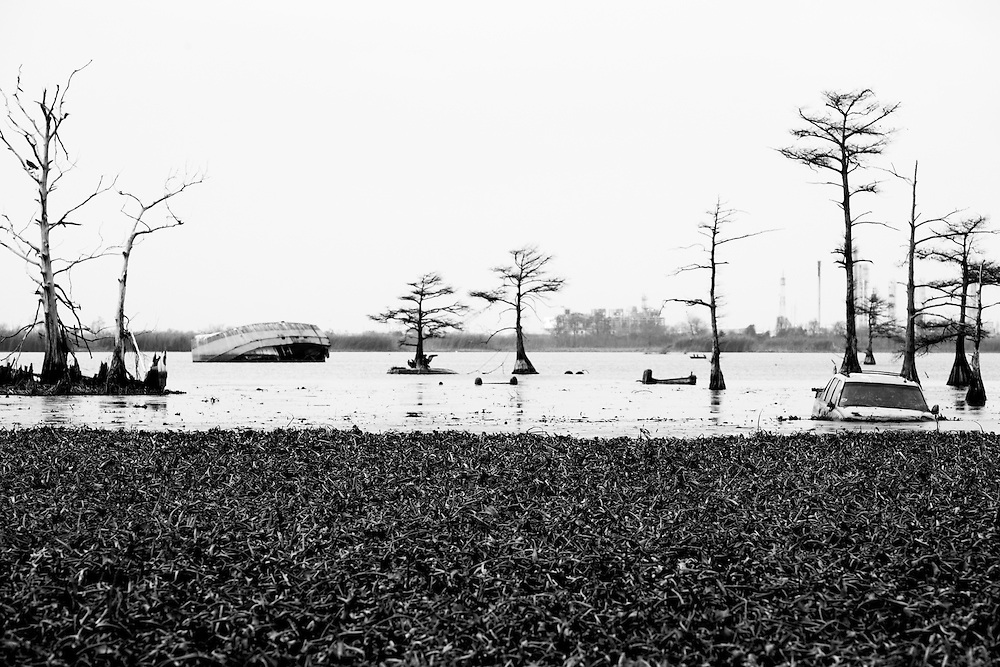Abandoned truck and fishing vessel rests permanently in lake in Venice, LA.   Copyright 2011 Reid McNally