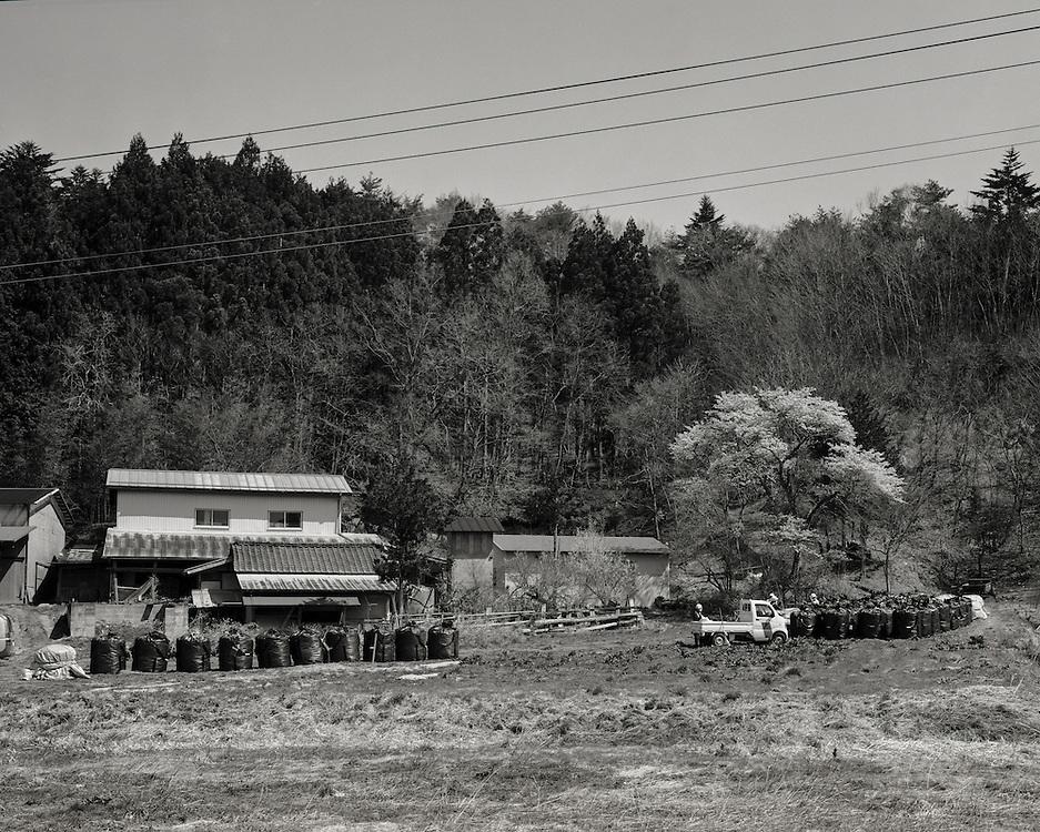 Local farm near Namie  during decontaminaton process fukushima radioactive closed zone
