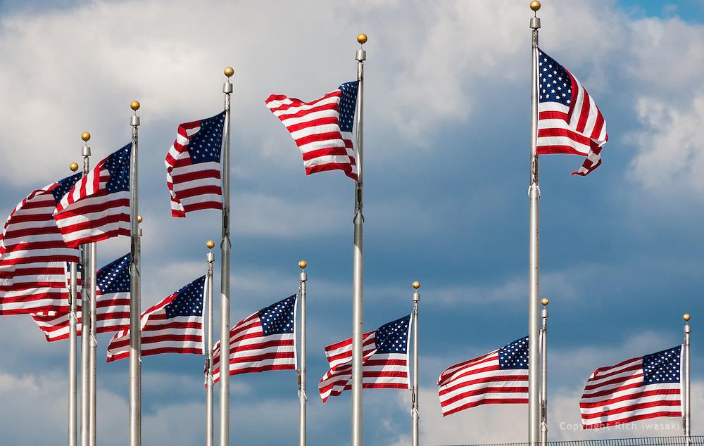 American flags flying at the Washington Monument, Washington, DC