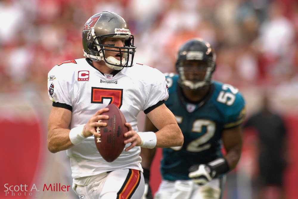 Tampa Bay Buccaneers quarterback (7) Jeff Garcia scrambles during the first half of the Bucs game against the Jacksonville Jaguars at Raymond James Stadium on Oct. 28, 2007 in Tampa, Florida.       ..©2007 Scott A. Miller