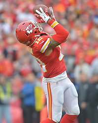 Dec 14, 2014; Kansas City, MO, USA; Kansas City Chiefs wide receiver Albert Wilson (12) catches a pass during the first half against the Oakland Raiders at Arrowhead Stadium. Mandatory Credit: Denny Medley-USA TODAY Sports
