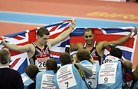 Photo: Rich Eaton.<br /> <br /> EAA European Athletics Indoor Championships, Birmingham 2007. 04/03/2007. Jason Gardener right and Craig Pickering celebrate their gold and silver medals respectively in the mens 60m final