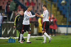 BUCHAREST, ROMANIA - Thursday, December 2, 2010: Liverpool's Nathan Eccleston replaces goal-scorer Milan Jovanovic during the UEFA Europa League Group K match against FC Steaua Bucuresti at the Stadionul Steaua. (Pic by: David Rawcliffe/Propaganda)