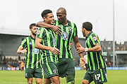 he does it again Lyle Taylor of AFC Wimbledon 13th goal of the season and is congratulated by Tom Elliott of AFC Wimbledon during the Sky Bet League 2 match between Barnet and AFC Wimbledon at Underhill Stadium, London, England on 20 February 2016. Photo by Stuart Butcher.
