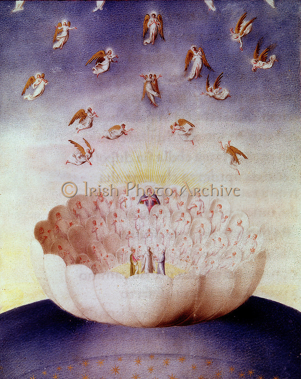 View of Heaven as imagined by Dante Alighieri (1265-1321) Italian poet. From a 15th century manuscript of his 'Divine Comedy'.