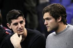 Chelsea goalkeeper Thibaut Courtois and Marcos Alonso in the crowd during the NBA London Game 2018 at the O2 Arena, London.