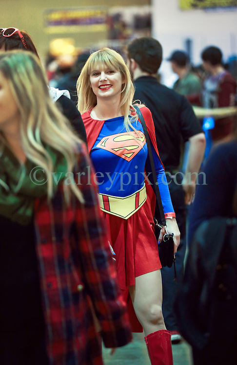 10 January 2015. New Orleans, Louisiana. <br /> Scenes from the Wizard World New Orleans Comic Con 2015 at the Morial Convention Center. Superwoman strides through the crowds. <br /> Photo; Charlie Varley/varleypix.com