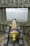 Cannon aimed at Straits of Mackinac. Colonial Michilimackinac, Mackinaw City Michigan.
