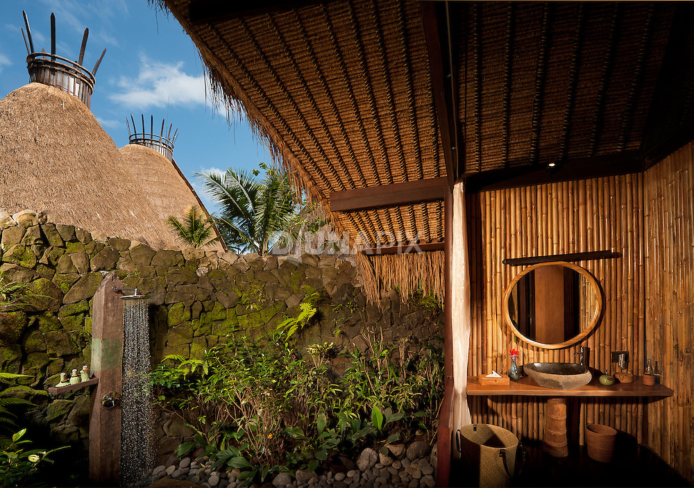 Each private residence at Fivelements Puri Ahimsa features an open-air bath. All-natural, locally-sourced building materials -- bamboo, thatch and volcanic stone -- offer an experience that is friendly to body, spirit and planet.