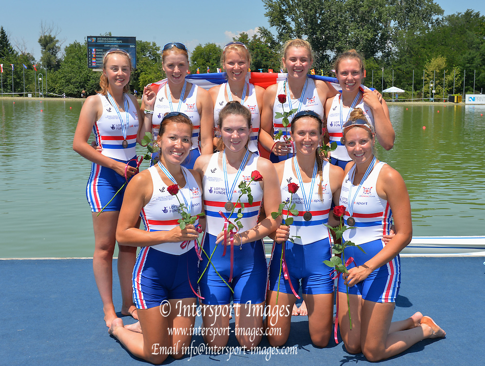 Plovdiv, BULGARIA. GBR BW8+, Bow. Bethany BRYAN, Katie BARTLETT, Harriet TAYLOR, Holly NIXON, Annie WITHERS, Alice WHITE, Gillian  COOPER, Nicole LAMB and Cox Morgan BAYNHAM-WILLIAMS, 2015 FISA U23 Championships. Sunday. 26.07.2015. [Mandatory Credit: Peter SPURRIER/Intersport Images]