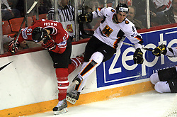 Rick Nash of Canada and Sebastian Osterloh of Germany at ice-hockey game Canada vs Germany in Qualifying Round Group F, at IIHF WC 2008 in Halifax,  on May 10, 2008 in Metro Center, Halifax, Nova Scotia,Canada. Canada won 11:1. (Photo by Vid Ponikvar / Sportal Images)