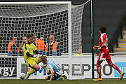 Coventry City midfielder Andy Rose (16)  sees his header ruled out for offside during the Sky Bet League 1 match between Coventry City and Swindon Town at the Ricoh Arena, Coventry, England on 19 March 2016. Photo by Simon Davies.