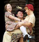 946: The Amazing Story of Adolphus Tips <br /> directed by Emma Rice at The Globe Theatre, London, Great Britain <br /> press photocall <br /> 16th August 2016 <br /> <br /> <br /> Katy Owen as Lily <br /> Ewan Wardrop as Mrs Ivy Turner<br /> Kyla Goodey as Lily's Mum <br /> <br /> <br /> <br /> Photograph by Elliott Franks <br /> Image licensed to Elliott Franks Photography Services
