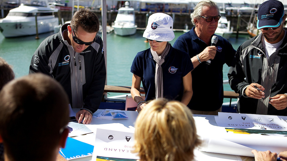 NEW ZEALAND, Auckland, 14th March 2010, Louis Vuitton Trophy, Ben Ainslie and Iain Percy sign posters.