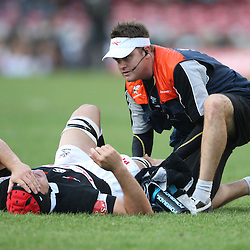 Jacques Botes with Deane Macquet Physiotherapist<br /> Action from Sharks vs Lions Absa Stadium Durban<br /> ABSA Currie Cup Premier Div <br /> 03 Oct 09<br /> 17:05