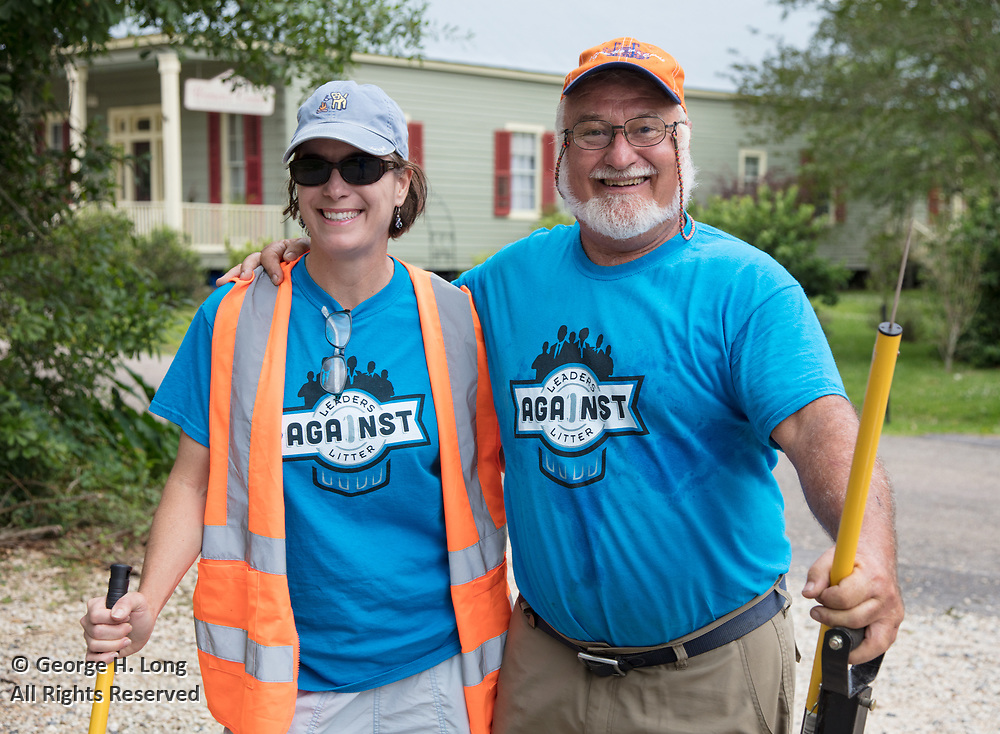 Regan Contois and Adrian Juttner at the Trash Bash sponsored by Keep Abita Beautiful in Abita Springs, Louisiana