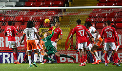 December 23, 2017 - London, United Kingdom - Blackpool's Armand Gnanduillet scores his sides first goal  .during Sky Bet  League One match between Charlton Athletic  against Blackpool at The Valley Stadium London on 23 Dec  2017  (Credit Image: © Kieran Galvin/NurPhoto via ZUMA Press)