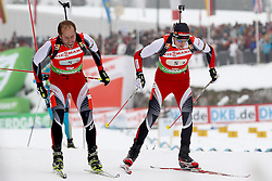 11.12.2011, Biathlonzentrum, Hochfilzen, AUT, E.ON IBU Weltcup, 2. Biathlon, Hochfilzen, Staffel Herren, im Bild Wechsel von Mesotitsch Daniel (Team Austria) auf Landertinger Dominik (Team Austria) // during Team Relay  E.ON IBU World Cup 2th Biathlon, Hochfilzen, Austria on 2011/12/11. EXPA Pictures © 2011. EXPA Pictures © 2011, PhotoCredit: EXPA/ nph/ Straubmeier..***** ATTENTION - OUT OF GER, CRO *****