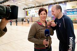 Maja Mastnak and Gorazd Skof during practice session of Slovenian Handball Men National Team, on January 11, 2011, in Zrece, Slovenia. (Photo by Vid Ponikvar / Sportida)