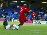 Photo: Paul Greenwood.<br />Stockport County v Cardiff City. Coca Cola Championship. 28/07/2007.<br />Cardiff's Trevor Sinclair (R) score the second goal